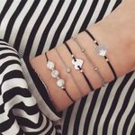 Boho Bracelets Jewelry Bohemian Silver Heart Accessories