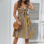 Sexy Tube top strapless halter Contrast stripes dress