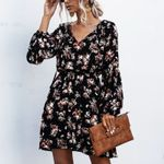 polka dot flower bubble lantern sleeve mini Dress