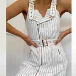 Sexy slim V-neck with Elegant strap hip white Dress
