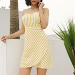 Beach Lemon yellow vertical striped suspender dress