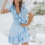 Sweet V-neck with ruffled dot Dress