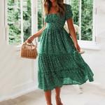 Vintage Vintage Print Puff Sleeve Beach sweet dresses