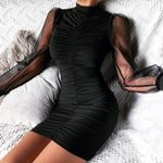 Fashion O Neck Mesh Sleeve Patchwork Sexy Dress