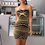 Bandage Gold Sleeveless Bodycon Bandage Party Dress