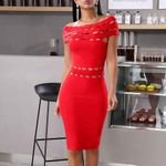 New Off the Shoulder Bandage Red Bodycon Dress