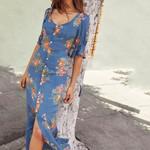 Floral print button V-neck Long Tie Short Sleeve Dresses