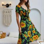 retro beach maxi deep v Sunflower print strap sexy dress