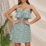 Holiday Green Printed Floral ruffled sling A-line party dress