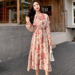 Midi Bow Floral Printed Elastic-Waisted Vestidos Chic Dress