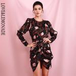 Brown Print Open Back Long Sleeve Cross Fit Mini Dress