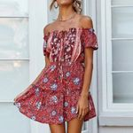 Printed off shoulder drawstring beach boho dress