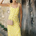 Ruffles Sexy Pleated Lace Yellow Floral Print Maxi dress