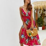 Sexy print Split stitching beach boho dress