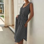 Polka Dot V-neck Vintage button belt print dresses