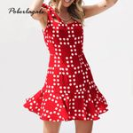 Slim Chiffon wave print boho sexy backless Retro Dress