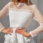 Sexy O-neck hollow lace long-sleeved Ruffles dress
