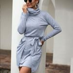 casual Turtleneck pocket strap with long sleeves mini Dress