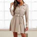 Vintage button shirt long sleeve High waist tie with short dresses