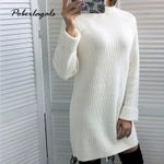 Casual Knitted Long Sleeve Solid Sweater Dress
