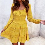 Sexy waist slim Printed Mini ruffles Dresses