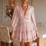 Print Mini Sexy Halter V-neck long-sleeved Dress