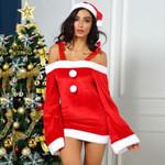 Christmas Hat Festival Flare Sleeve Off-Shoulder Dress