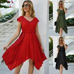 V Neck Knot Pure Color Mini Dress