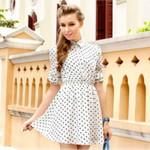 Fashion Boho Polka Dot Long Sleeve Short Dresses