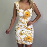 Flower Print Mini Sexy Ruffles Strap Skinny Dress