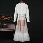 Red RoosaRosee Designer Elegant Long Sleeve White Dress