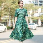 Green Leaf Print Short Sleeve Elegant Midi Dress