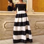 Off Shoulder Three Quarter Sleeve Stripe Maxi Dresses