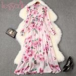 Runway Designer Elegant Beading Floral Maxi Dress