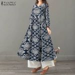 Elegant Sundress Long Sleeve Linen Vestido Dress