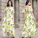 Boho Lemon Printed Maxi Dress