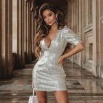 Deep V-Neck Sequin Bubble Short Sleeve Bodycon Mini Dress