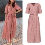 Elegant Plaid Shirt Dress Sundress