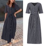 Elegant Plaid Shirt Dress Sundress