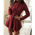 Button Plaid Ladies Long Sleeve Plaid Shirt Dress