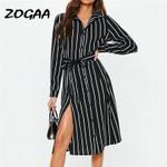 Office Lady Black Striped Long Shirt Dress