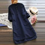 Retro Long Sleeve Casual Loose Button Tops Blouse Mini Shirt Dress