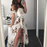 Off Boho Floral Print Split Maxi Dress