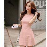 Pink Tank Sleeveless O Neck Office Mini A Line Dress