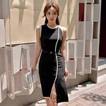 Black Tank Sleeveless O neck Office Midi Dresses