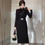High End Stand Collar Long Sleeve Bow Knitting Dress