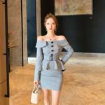 Grey Ruffle Sheath Off the Shoulder Vintage Dress