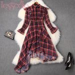 Runway Designer Asymmetrical Plaid Dress