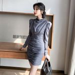 Grey Sheath Stand Collar Puff Sleeve Vintage Party Dress