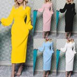 Fashion Solid Color Puff Sleeve Long Dress